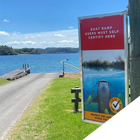 New boat ramp signage in place at Lake Rotoma. Image_ Bay of Plenty Regional Council